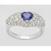 Sapphire Heart and Diamond Ring